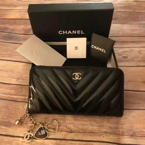 chanel black patent leather long wallet w/ charm
